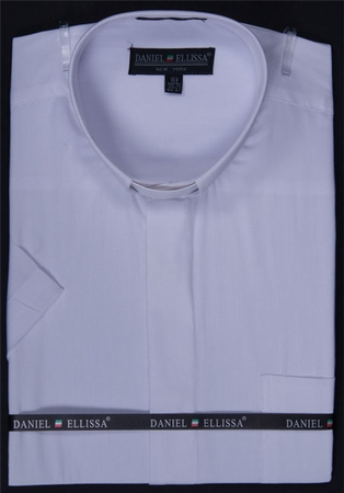 Mens White Short Sleeve Clergy Shirt by Daniel Ellissa DS3007RS - click to enlarge