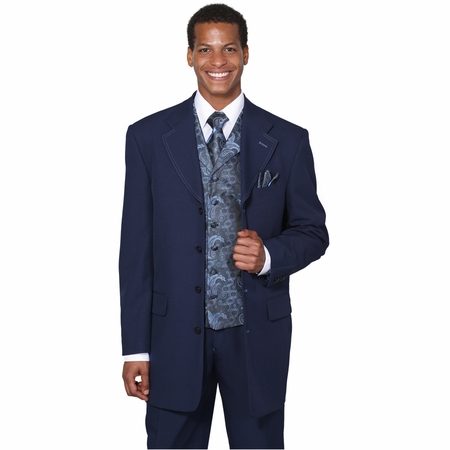 Mens Dress Suits by Milano Moda Navy Fancy Vest 3 Piece 6903V - click to enlarge