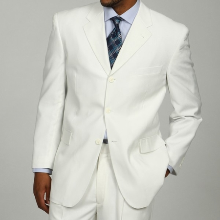 Mens White 3 Button Suit Super 150s Pleat Pants 3RS - click to enlarge