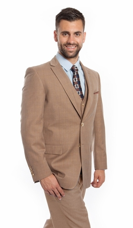 Mens Fine Wool Modern Fit Style Suit Beige Square 3 Piece ZG MW245-05 - click to enlarge