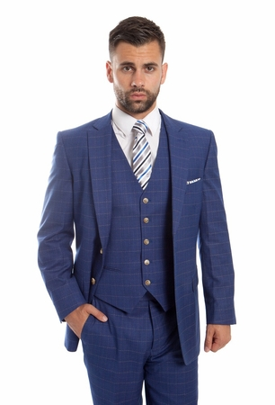Mens Fine Wool Modern Fitted Suit Navy Box Pattern 3 Pc. ZG MW245-02 - click to enlarge