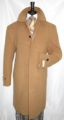 Mens Wool Over Coat Covered Buttons Regular Fit Camel COAT61 - click to enlarge