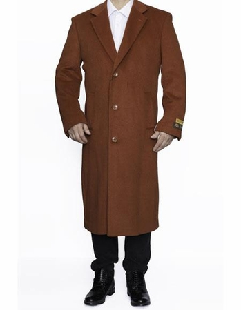 Mens Wool Overcoat Full Length Rust Color Top Coat 48 Inch Alberto - click to enlarge