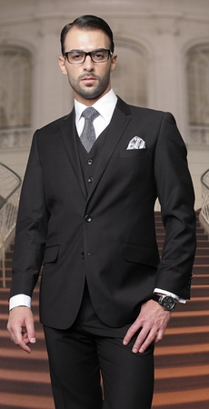 Mens Wool Suits Black 2 Button by Alberto 2BVP-1 - click to enlarge