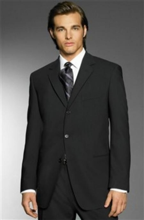 Mens Super 150s Wool Suits Black 3 Button Style Classic Fit Alberto 3BVP-1 2pc - click to enlarge