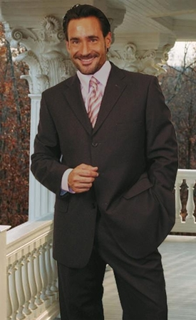 Mens Classy Italian Wool Suit Charcoal 3 Button Classic Cut Alberto 3BVP-1 2pc - click to enlarge