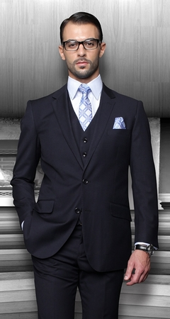 Mens Wool Suits Navy Blue 2 Button by Alberto 2BVP-1 - click to enlarge