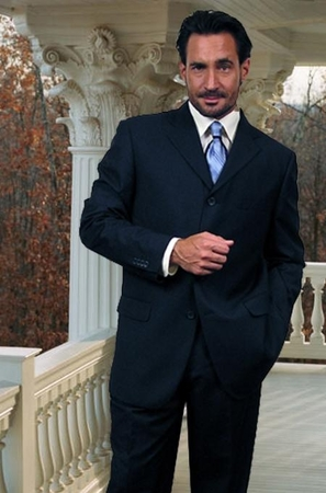 Mens Wool Suits Navy Blue 3 Button Classic Fit Alberto 3BVP-1 2pc - click to enlarge