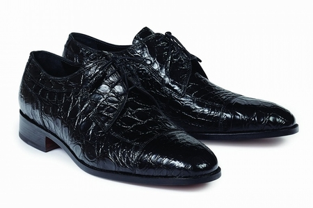 Mauri Mens Shoes Black Italian Crocodile Lace Up Brunelleschi 4598 Size 8.5 Final Sale - click to enlarge