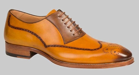 Mezlan Shoes Mens Mustard Tan Exotic Style Wingtip Oxford Kelvin - click to enlarge