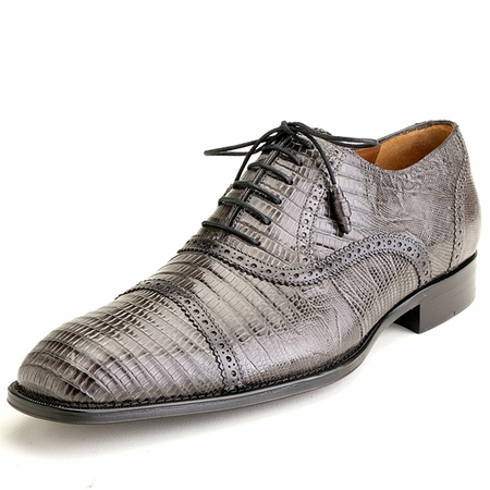 Mezlan Custom Bella Mens Gray Lizard Skin Captoe Shoes 3459-L - click to enlarge