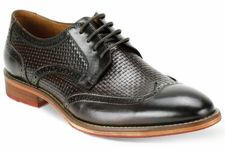 Giovanni Mens Chocolate Brown Basket Weave WingTip Dress Shoes Carlton - click to enlarge