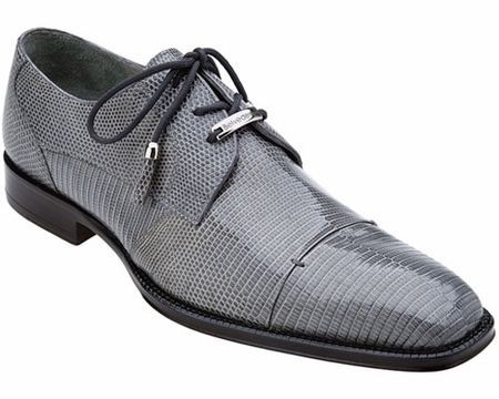 Belvedere Mens Gray Teju Lizard Skin Shoes Karmelo 1497 - click to enlarge