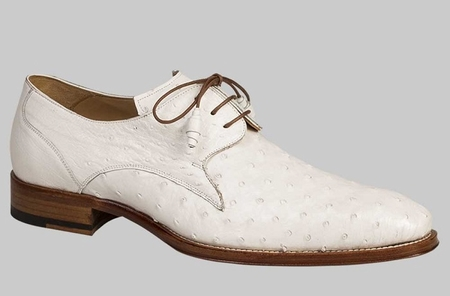 Mezlan Custom Shoes White Full Ostrich Lace Up Ellis - click to enlarge