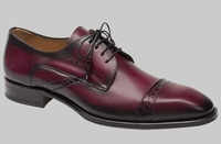 Mezlan Men Unique Shoes Burgundy Wine Cap Toe Alligator Trim Nemesis