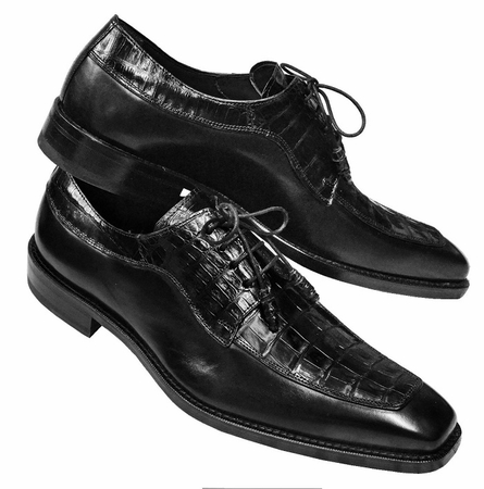 Mezlan Shoes Mens Black Crocodile Skin Top Lace Up Montreal IS - click to enlarge