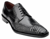 Belvedere Men's Black Alligator Skin Wingtip Shoes Urbano 3B0