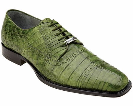 Belvedere Crocodile Shoes Emerald Green Cap Toe Marcello 1493 - click to enlarge