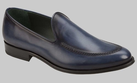Mezlan Shoes Blue Hand Stained Calf Skin Loafer Rodin 8088 - click to enlarge