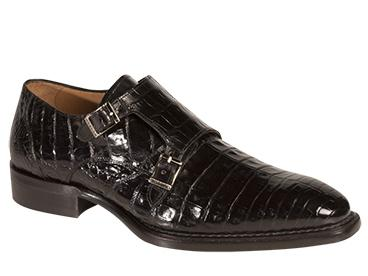 Mezlan Shoes Prague Mens Double Strap Crocodile Black