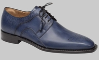 Mezlan Shoes Men Medium Blue Plain Toe Lace Up Saturno