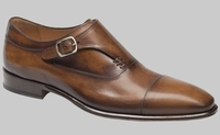 Mezlan Shoes Men's Tan Burnished Leather Side Strap Cartago