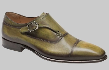 Mezlan Shoes Mens Olive Calf Leather Monk Strap Cartago - click to enlarge