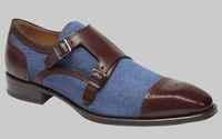 Mezlan Shoes Mens Brown Blue Denim 2 Buckle Cupido