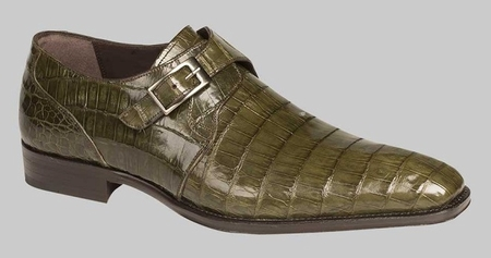 Crocodile Shoes Mens Olive Green Monk Strap Mezlan Gables - click to enlarge