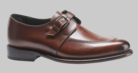 Mezlan Shoes Cognac Leather Burnished Monk Strap Aguilar 8149 - click to enlarge