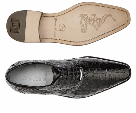 Belvedere Mens Black All Over Crocodile Shoes Edo 1630 - click to enlarge