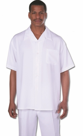 Milano Mens All White Outfits for Men Short Sleeve 2954 - click to enlarge