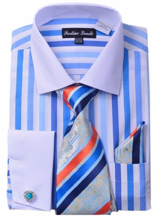 Milano Mens Blue Candy Stripe Fancy Shirt Tie Set FL629 - click to enlarge