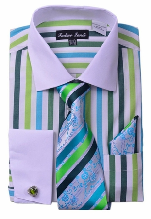 Milano Mens Green Candy Stripe Fancy Shirt Tie Set FL629 - click to enlarge
