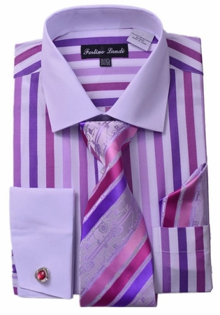 Milano Mens Lavender Candy Stripe Fancy Shirt Tie Set FL629 - click to enlarge