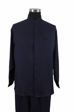 Milano Mens Navy Mandarin Collar Long Sleeve Walking Suit 2826 - click to enlarge