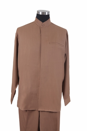 Milano Mens Coconut Tan Mandarin Collar Long Sleeve Walking Suit 2826 - click to enlarge