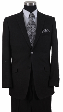 Milano Moda Black Elbow Patch Linen Suits 2 Button 613L - click to enlarge