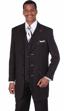 Milano Moda Black Full Cut Striped Vested Urban Men Suits 5903V   - click to enlarge