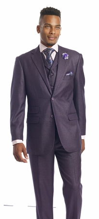 Kent Park Mens Lavender Check 1920s Vintage Style Suit M2694 - click to enlarge