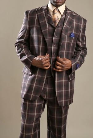 Tony Blake Mens Brown Big Square Pattern Fashion Suit HF323 - click to enlarge