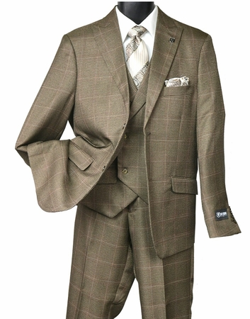 Stacy Adams Mens Brown Houndstooth 1920s Fashion Suit State Vest 5902-708 IS - click to enlarge