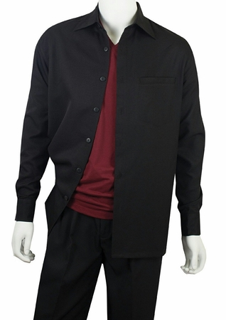 Jazz Mens Black Solid Casual Walking Sets PLTS2 - click to enlarge