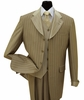 Milano Moda Brown Striped Cuffed Vested  Men Church Suits 2911V