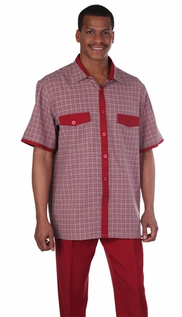 Mens Leisure Suits Outfit Burgundy Plaid Short Sleeve Milano 2953 - click to enlarge