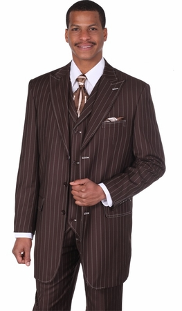 Milano Moda Full Cut Brown Stripe 3 pc. Wide Leg Suit 5903V - click to enlarge