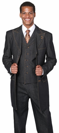 Milano Moda Wide Leg Mens 3 pc, Black  Jean Fashion Suit 5285 - click to enlarge
