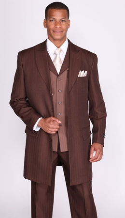 Milano Moda Mens Brown Herringbone Vested Fashion Suits 3106V - click to enlarge