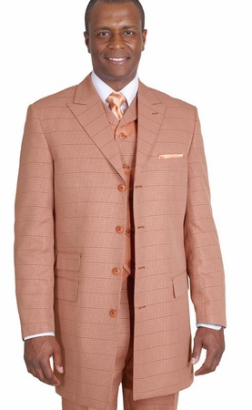 Milano Moda Mens Rust Plaid Vested Fashion Suits 9151V - click to enlarge