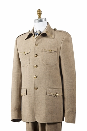 Canto Mens Taupe Nailshead Military Pocket Suit 8392 - click to enlarge